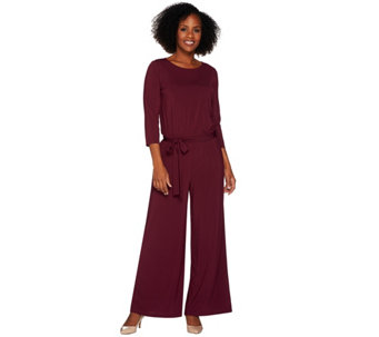 Joan Rivers Petite Length Jersey Knit Jumpsuit with 3/4 Sleeves - A280949