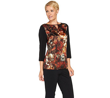 Susan Graver Woven Front 3/4 Sleeve Top w/ Liquid Knit Back - A281149