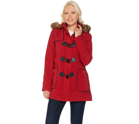 C. Wonder Faux Wool Zip Front Coat with Toggle Detail