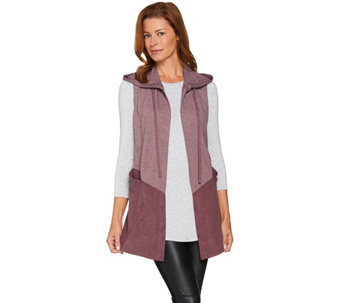 LOGO Lounge by Lori Goldstein French Terry and Suede Open Front Vest - A282149