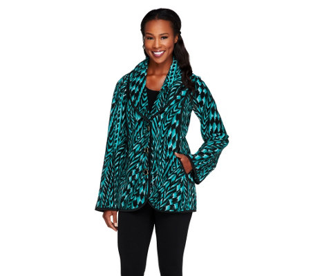 """As Is"" Bob Mackie's Feather Printed Fleece Shawl Collar Jacket"