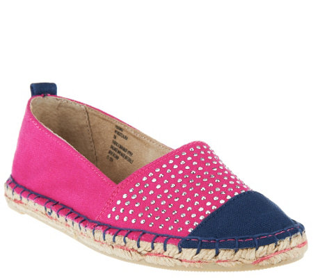 """As Is"" White Mountain Espadrille Slip-ons w/Stud Details - Aura"