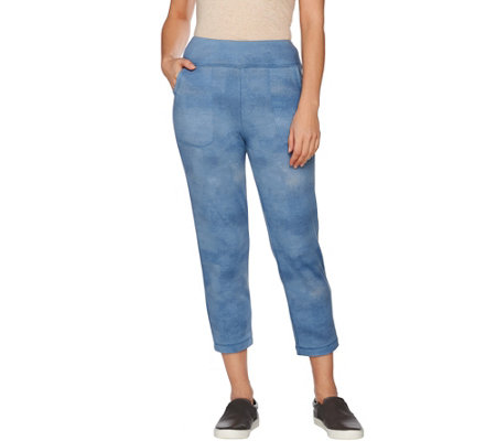 """As Is"" LOGO Lounge by Lori Goldstein French Terry Ombre Crop Pant"