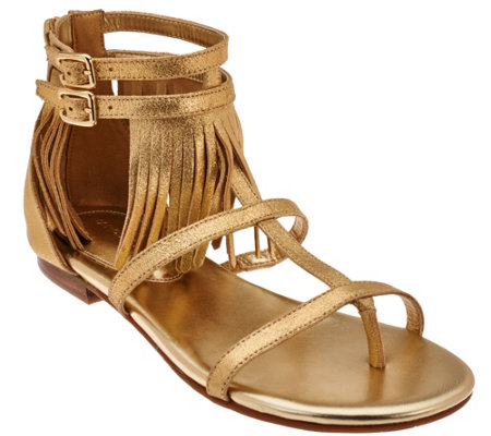 """As Is"" Marc Fisher Suede Fringe Sandals w/Adj. Ankle Straps - Laryn"