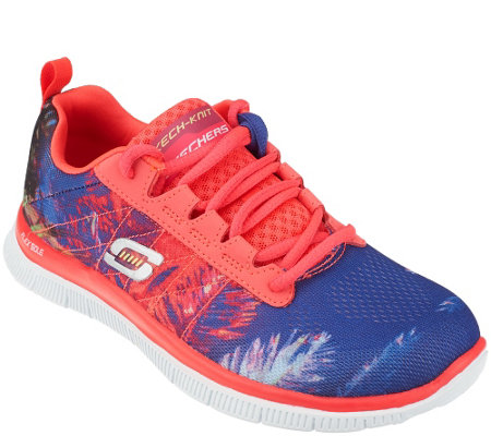 """As Is"" Skechers Print Skech Knit Lace Up Sneakers - Trade Winds"