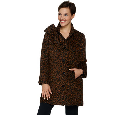 Dennis Basso Leopard Print Button Front Coat with Bow Accent