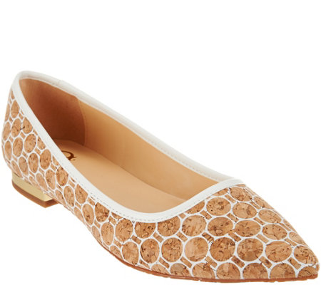 """As Is"" C. Wonder Printed Cork Flats with Heel Hardware - Lilly"