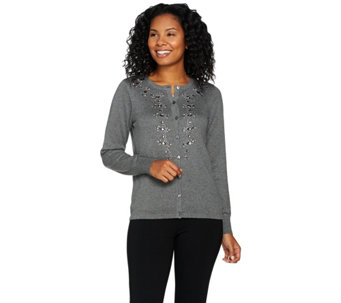 Bob Mackie's Button Front Embellished Sweater Knit Cardigan - A285549