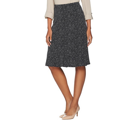 Susan Graver Printed Liquid Knit Skirt with Godets
