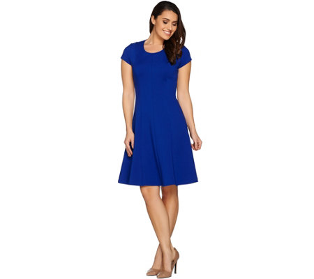 H by Halston Petite VIP Ponte Knit Cap Sleeve Fit & Flare Dress