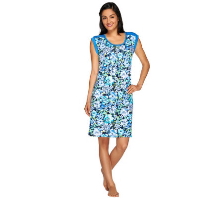 """As Is"" Carole Hochman Heavenly Soft Floral Jersey Knit Chemise"