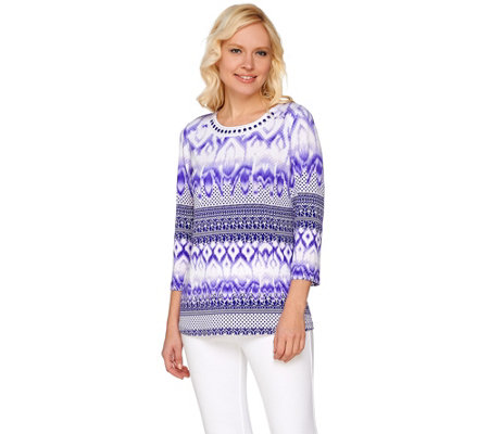 """As Is"" Susan Graver Artisan Embellished Printed Liquid Knit Top"