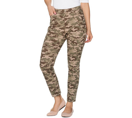 """As Is"" Denim & Co. Camo Printed Zip Front Ankle Pants"