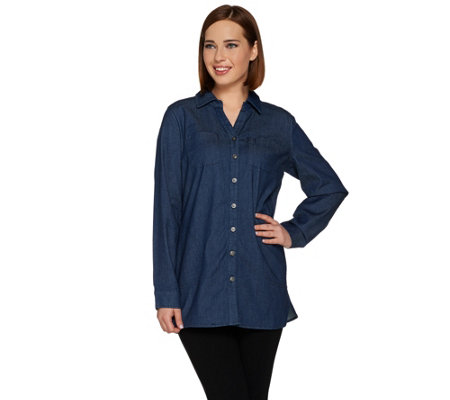"""As Is"" Denim & Co. Petite Stretch Button Front Shirt w/Pockets"