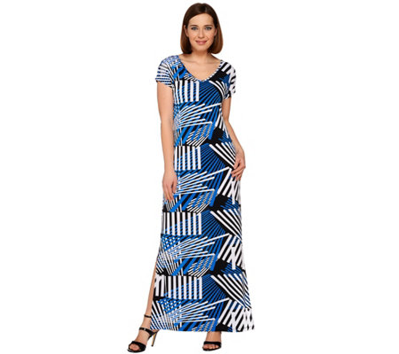 """As Is"" Attitudes by Renee Petite Printed Knit Maxi Dress"