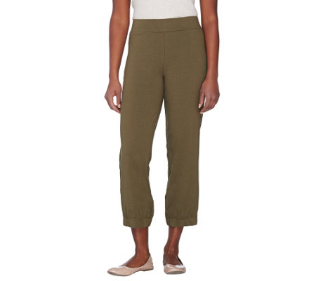 """As Is"" Women with Control Regular Crop Pants with Elastic Bottom"
