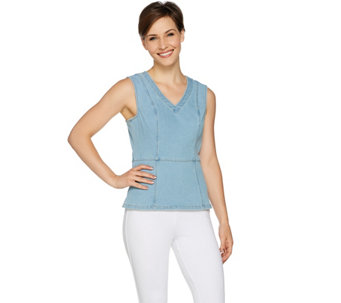 G.I.L.I. Sleeveless Denim Tank with Back Zip - A292949