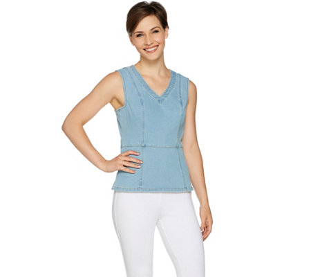 G.I.L.I. Sleeveless Denim Tank with Back Zip