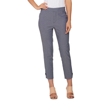 """As Is"" Kelly by Clinton Kelly Crop Pants with Button Cuff"
