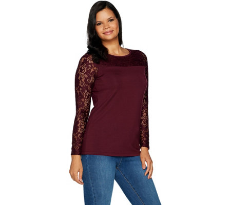 Belle by Kim Gravel Long Sleeve Knit Top with Lace Trim