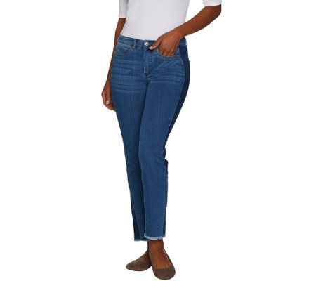 Women with Control Petite My Wonder Denim Ankle Jeans w/ Contrast Sides