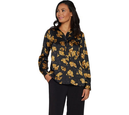 Dennis Basso Button Front Floral Print Stretch Satin Blouse