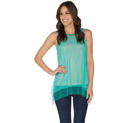 LOGO Layers by Lori Goldstein Sheer Layered Mesh Tanks