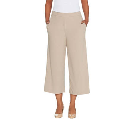 Dennis Basso Caviar Crepe Wide Leg Pull-On Crop Pants - Petite