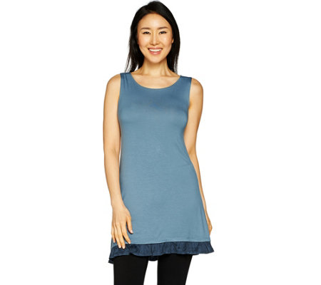 """As Is"" LOGO Layers by Lori Goldstein Knit Tank w/Faux Suede Ruffle"