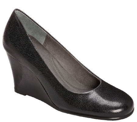 Aerosoles Heel Rest Wedge Pumps - Plum Tree