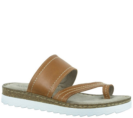 Bella Vita Leather Slide Sandal with Toe Loop -Tivoli