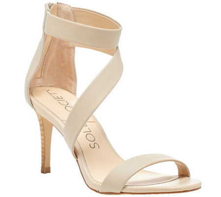 Sole Society Leather Asymmetrical Strap Sandals- Juliette