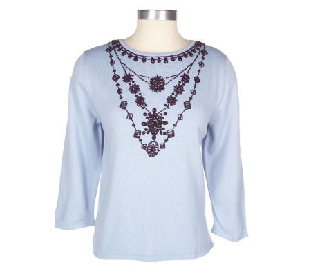 Victor Costa Occasion Faux Necklace V-neck Sweater