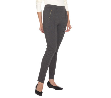 Liz Claiborne New York Ponte Pants with Pintuck & Zipper Detail