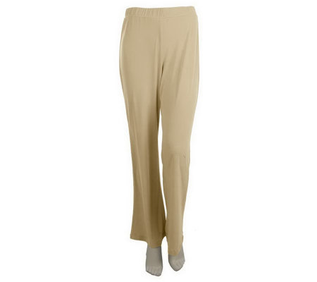 Susan Graver Liquid Knit Elastic Waist Regular Pants