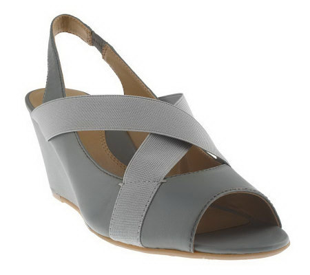 Tignanello Leather & ElasticPeep Toe Cross Strap Wedge Sandals