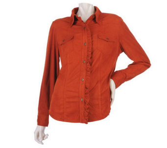 Susan Graver Faux Suede Button Front Shirt with Ruffle Placket - A217950