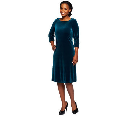 Susan Graver Velvet Swing Dress with 3/4 Ruched Sleeves