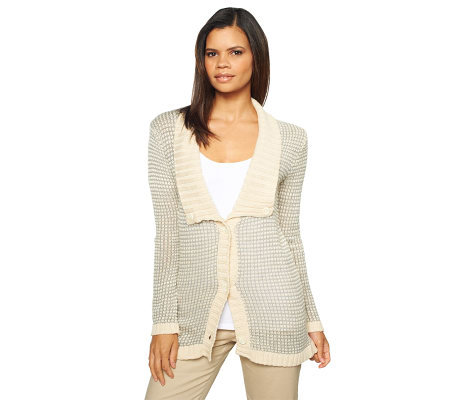 Liz Claiborne New York Squared Shawl Collar Cardigan