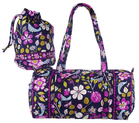 Vera Bradley Signature Cotton Small Duffle and Ditty Bag