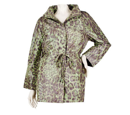 George Simonton Animal Print Anorak Jacket with Ruched Collar