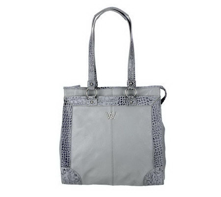 Wendy Williams Pebble Leather with Croco Trim Tote