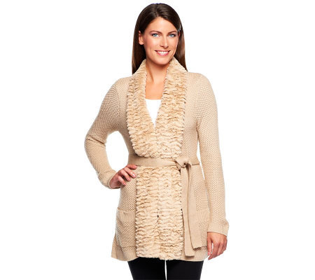 Dennis Basso Sweater Cardigan with Faux Chinchilla Fur Trim & Belt