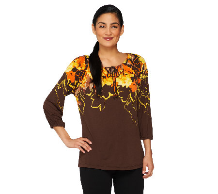 Susan Graver Long Sleeve Printed Tunic with Key Hole Detail
