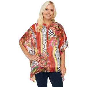 Susan Graver Printed Sheer Chiffon Button Front Scarf Top - A233750
