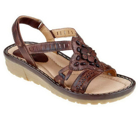 Earth Downeaster Leather Sandals with Back Strap & Bead Detail