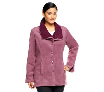 Denim & Co. Button Front Shawl Collar Jacket with Sherpa - A238350