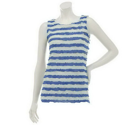 """As Is"" Susan Graver Knit Striped Ruffle Tank Top"