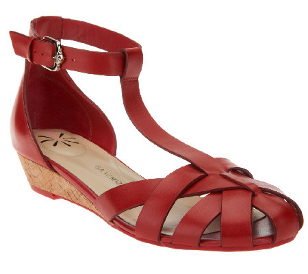 Isaac Mizrahi Live! Leather T-Strap Fisherman Wedge Sandals