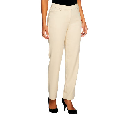 Susan Graver Stretch Crepe Zip Front Straight Leg Pants